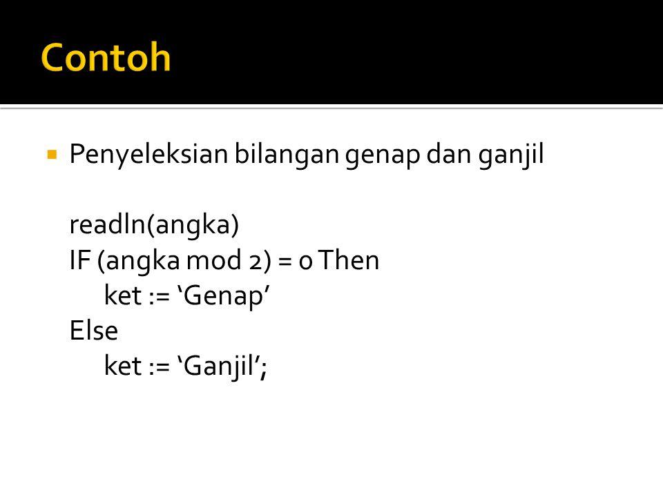  Penyeleksian bilangan genap dan ganjil readln(angka) IF (angka mod 2) = 0 Then ket := 'Genap' Else ket := 'Ganjil';