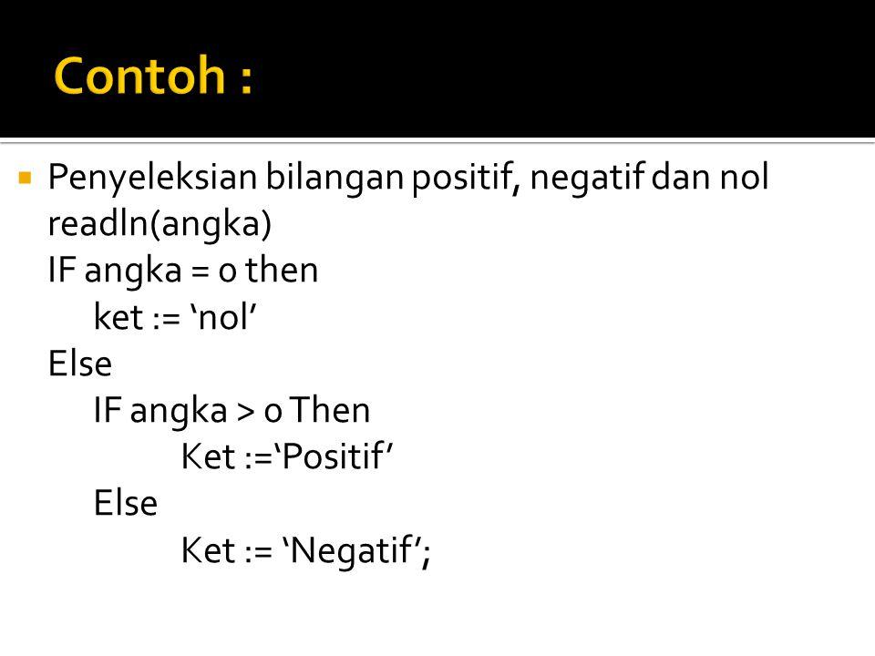  Penyeleksian bilangan positif, negatif dan nol readln(angka) IF angka = 0 then ket := 'nol' Else IF angka > 0 Then Ket :='Positif' Else Ket := 'Negatif';