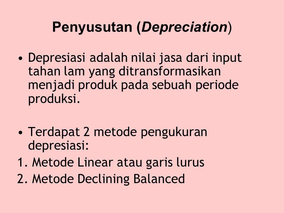 Penyusutan (Depreciation) •Depresiasi adalah nilai jasa dari input tahan lam yang ditransformasikan menjadi produk pada sebuah periode produksi.