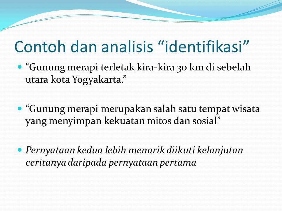 """Contoh dan analisis """"identifikasi""""  """"Gunung merapi terletak kira-kira 30 km di sebelah utara kota Yogyakarta.""""  """"Gunung merapi merupakan salah satu"""