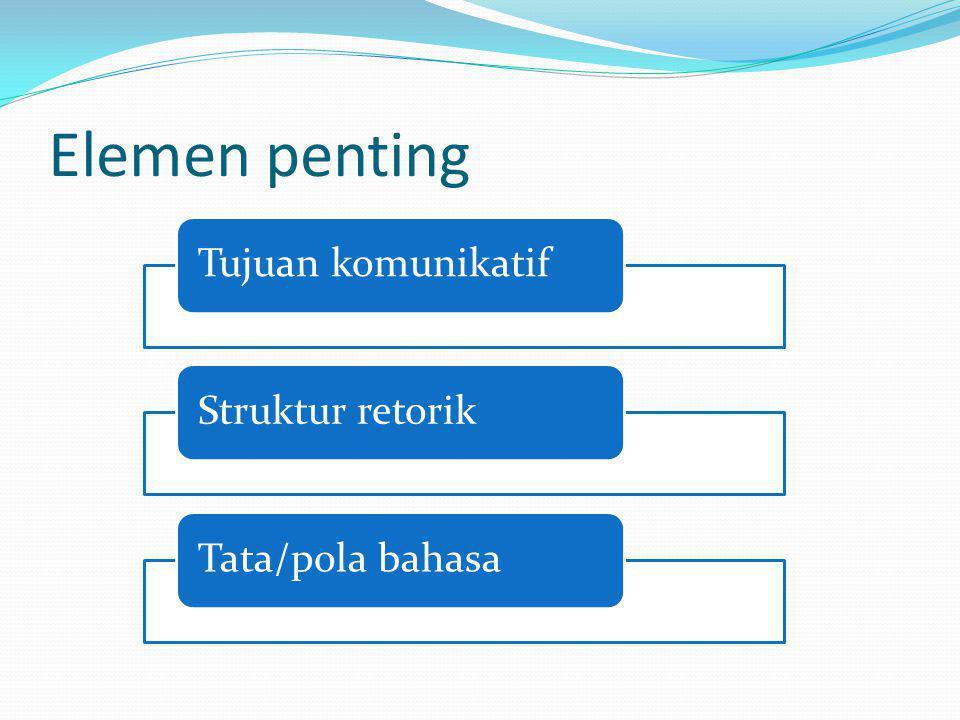 Elemen penting Tujuan komunikatifStruktur retorikTata/pola bahasa