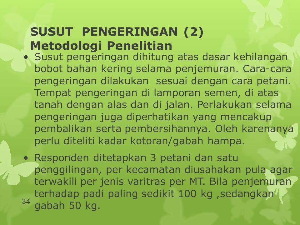 SUSUT PENGERINGAN (2) Metodologi Penelitian •Susut pengeringan dihitung atas dasar kehilangan bobot bahan kering selama penjemuran. Cara-cara pengerin