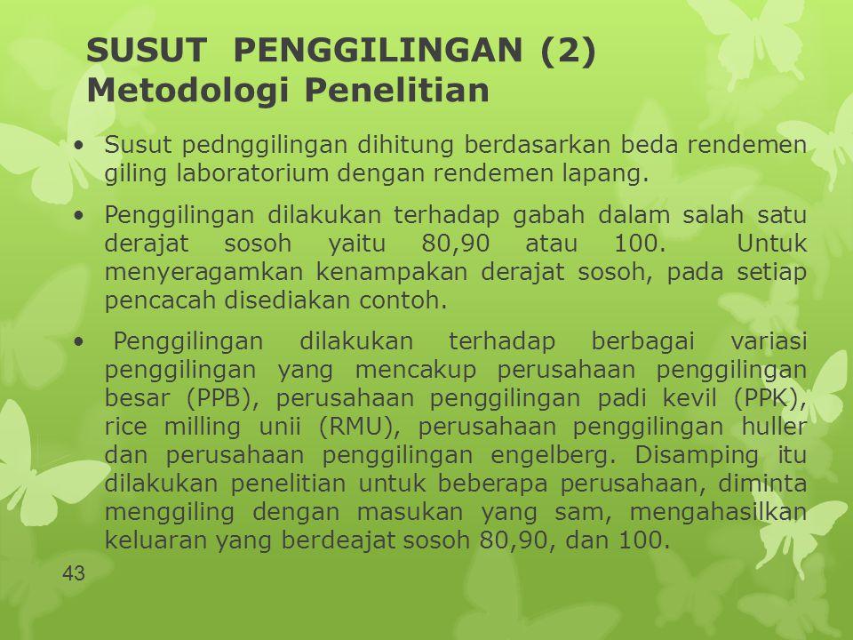 SUSUT PENGGILINGAN (2) Metodologi Penelitian •Susut pednggilingan dihitung berdasarkan beda rendemen giling laboratorium dengan rendemen lapang. •Peng