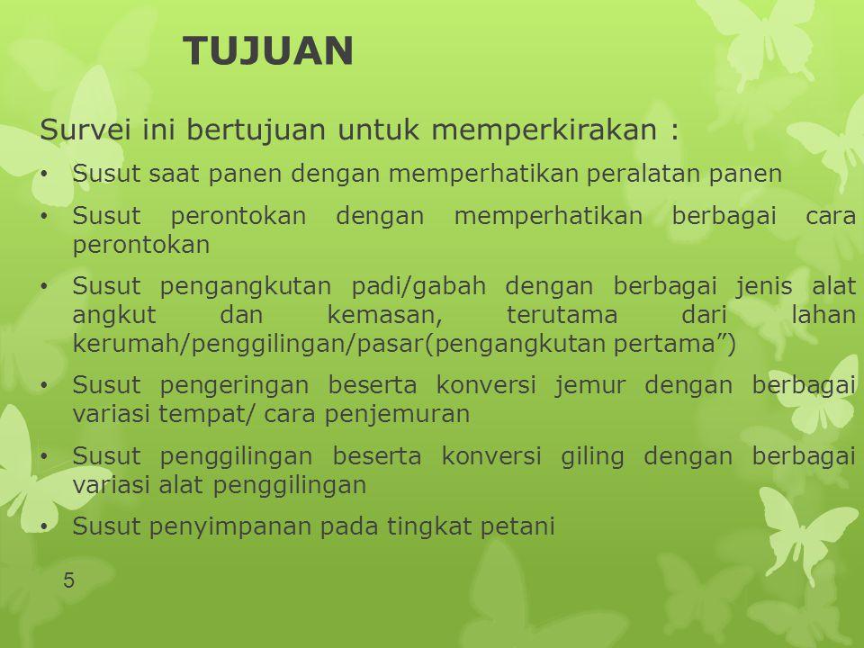 RUANG LINGKUP •Penelitian ini dilakukan di 15 provinsi (107 kabupaten dan 250 kecamatan) yang mencakup 93,38 persen produksi padi di Indonesia tahun 2004, yaitu : D.I.