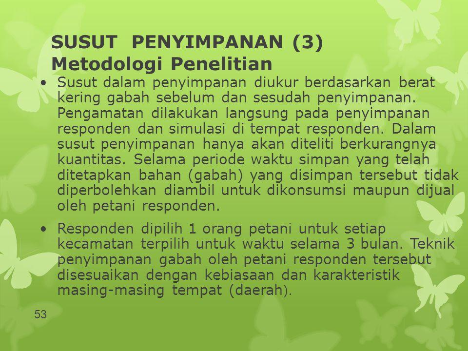 SUSUT PENYIMPANAN (3) Metodologi Penelitian •Susut dalam penyimpanan diukur berdasarkan berat kering gabah sebelum dan sesudah penyimpanan. Pengamatan