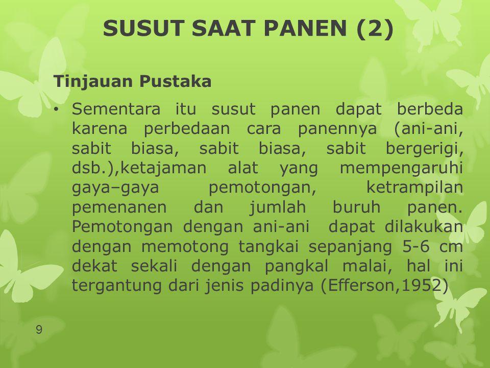 SUSUT PENGERINGAN (8) Hasil Penelitian Tempat Penjemuran/ Pengeringan MT 94/95MT 95Gabungan Lahan Sawah Halaman Rumah 1,97 1,91 2,54 1,95 2,25 1,93 Lamporan Semen Lamporan Bata 2,23 3,76 2,10 3,30 2,16 3,52 Pinggir Jalan Umum Indonesia 2,51 2,22 2,13 2,34 2,18 40