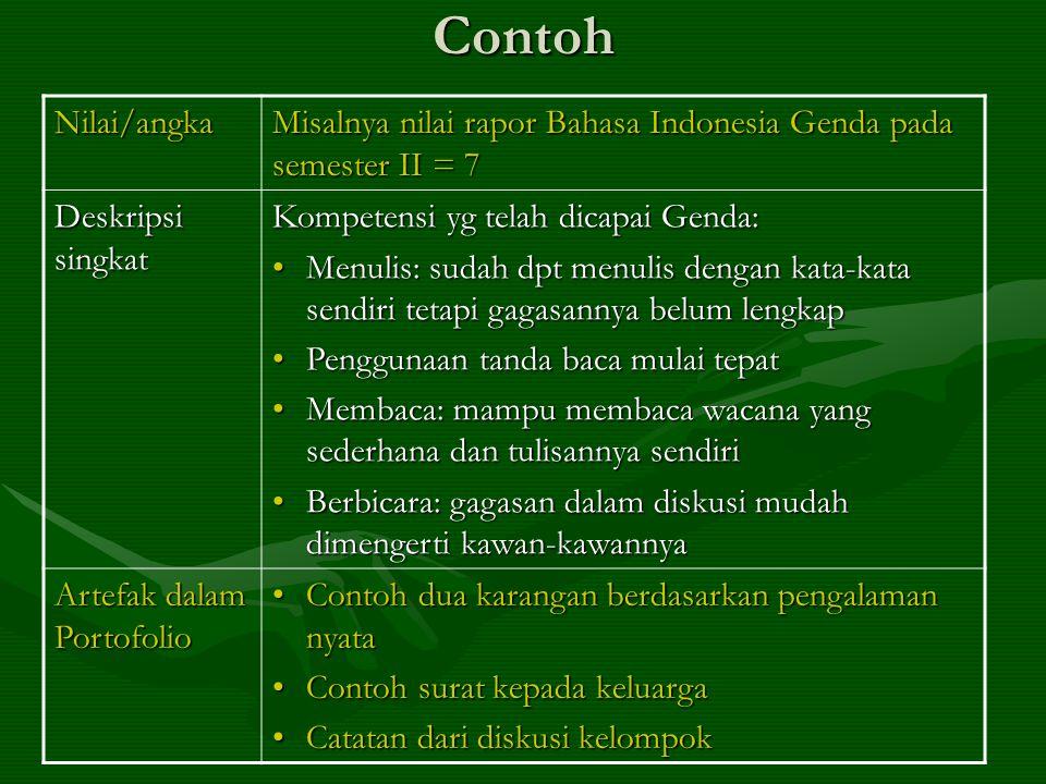 ContohNilai/angka Misalnya nilai rapor Bahasa Indonesia Genda pada semester II = 7 Deskripsi singkat Kompetensi yg telah dicapai Genda: •Menulis: suda