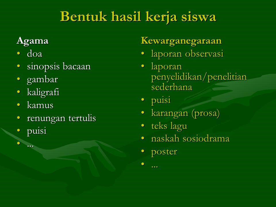 Bentuk hasil kerja siswa Agama •doa •sinopsis bacaan •gambar •kaligrafi •kamus •renungan tertulis •puisi •...