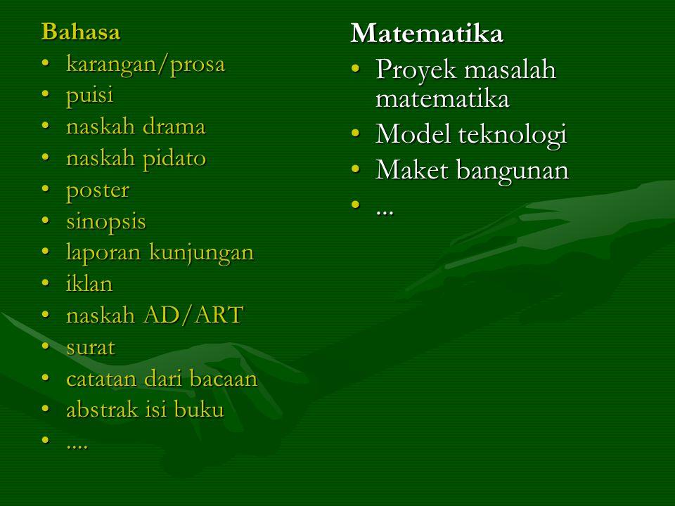 Bahasa •karangan/prosa •puisi •naskah drama •naskah pidato •poster •sinopsis •laporan kunjungan •iklan •naskah AD/ART •surat •catatan dari bacaan •abstrak isi buku •....
