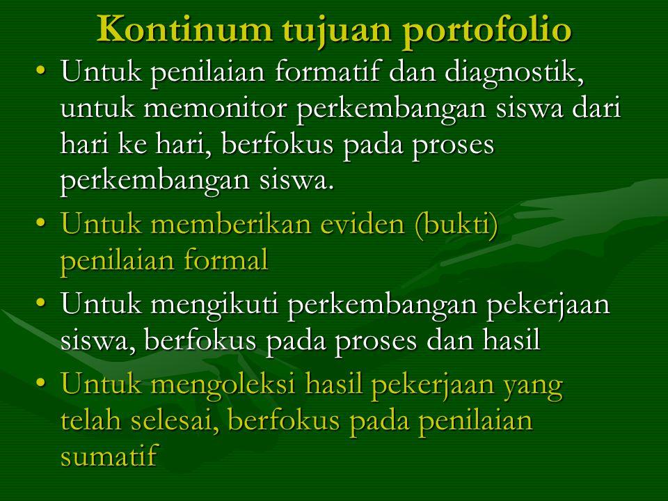 Kontinum tujuan portofolio •Untuk penilaian formatif dan diagnostik, untuk memonitor perkembangan siswa dari hari ke hari, berfokus pada proses perkembangan siswa.