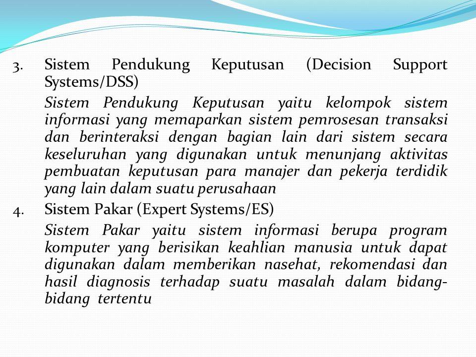 3. Sistem Pendukung Keputusan (Decision Support Systems/DSS) Sistem Pendukung Keputusan yaitu kelompok sistem informasi yang memaparkan sistem pemrose