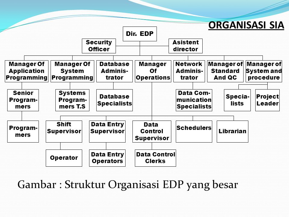 ORGANISASI SIA Gambar : Struktur Organisasi EDP yang besar Dir. EDP Security Officer Asistent director Manager Of Application Programming Manager Of S