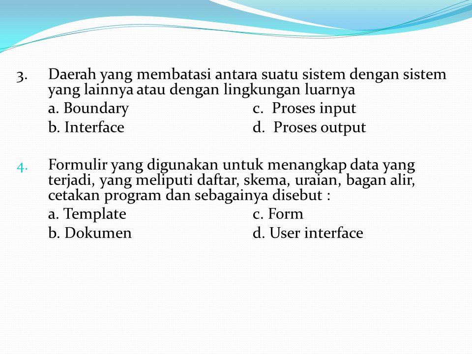 3.Daerah yang membatasi antara suatu sistem dengan sistem yang lainnya atau dengan lingkungan luarnya a.