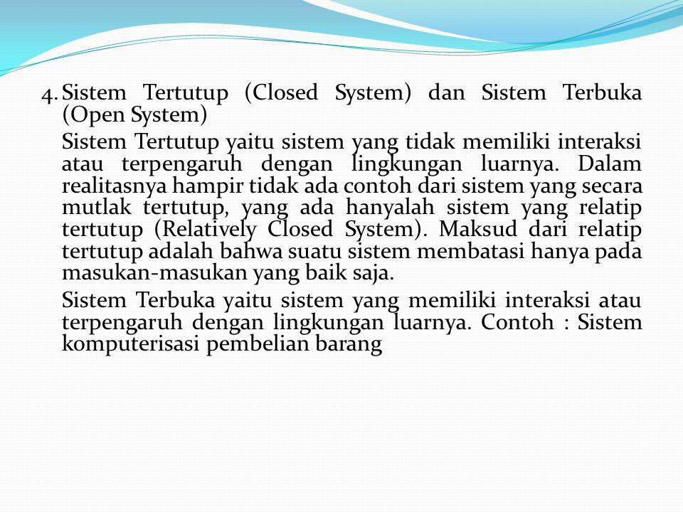 4.Sistem Tertutup (Closed System) dan Sistem Terbuka (Open System) Sistem Tertutup yaitu sistem yang tidak memiliki interaksi atau terpengaruh dengan lingkungan luarnya.