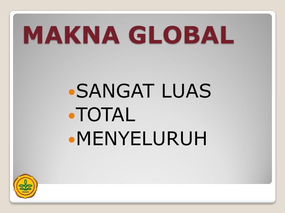 MAKNA GLOBAL  SANGAT LUAS  TOTAL  MENYELURUH