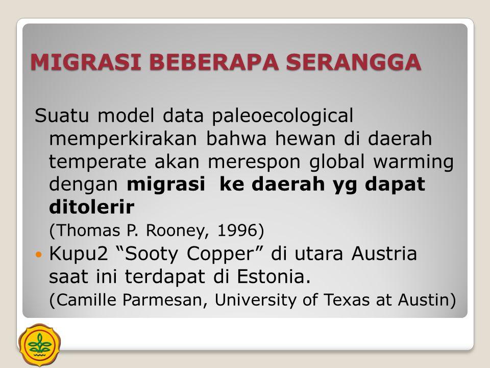 MIGRASI BEBERAPA SERANGGA Suatu model data paleoecological memperkirakan bahwa hewan di daerah temperate akan merespon global warming dengan migrasi k