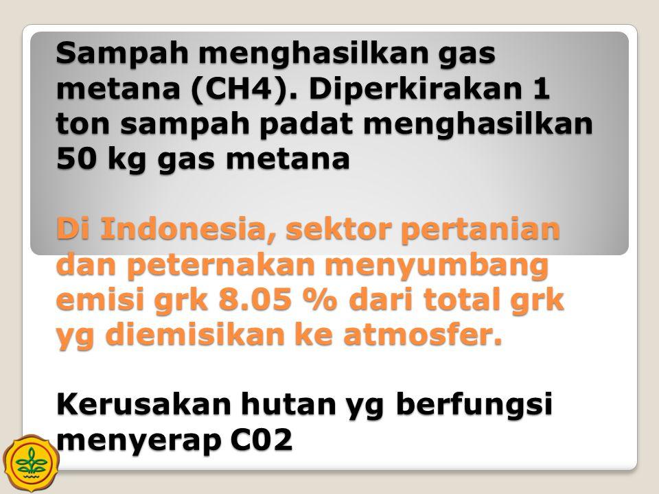 Sampah menghasilkan gas metana (CH4). Diperkirakan 1 ton sampah padat menghasilkan 50 kg gas metana Di Indonesia, sektor pertanian dan peternakan meny