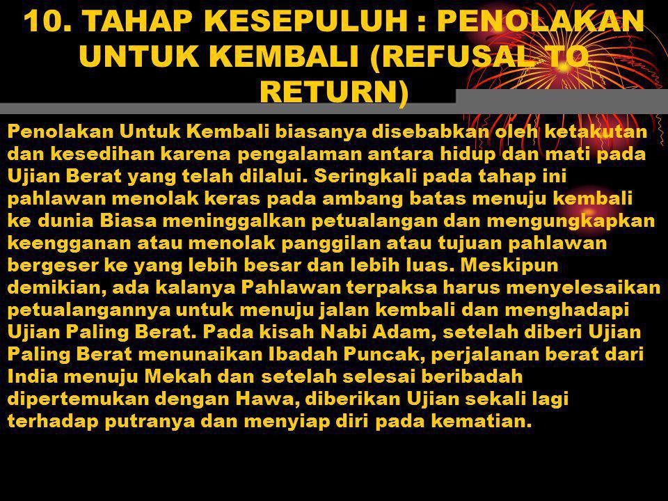 10. TAHAP KESEPULUH : PENOLAKAN UNTUK KEMBALI (REFUSAL TO RETURN) Penolakan Untuk Kembali biasanya disebabkan oleh ketakutan dan kesedihan karena peng