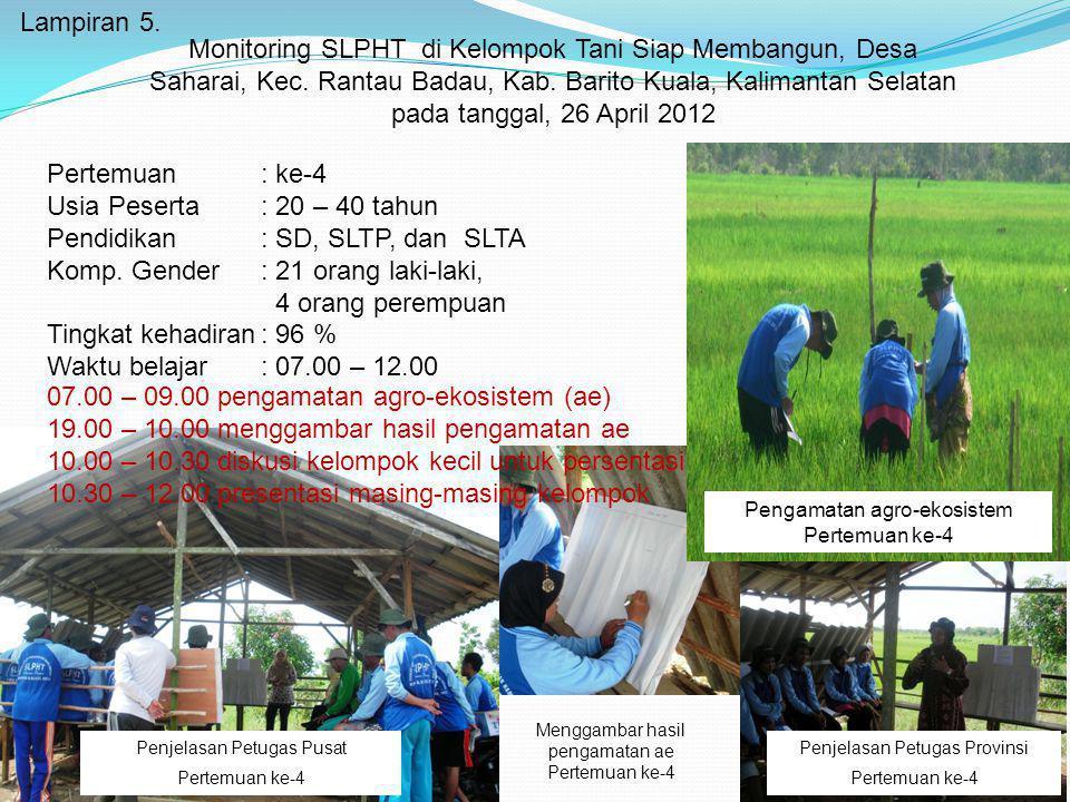 Lampiran 5. Monitoring SLPHT di Kelompok Tani Siap Membangun, Desa Saharai, Kec. Rantau Badau, Kab. Barito Kuala, Kalimantan Selatan pada tanggal, 26