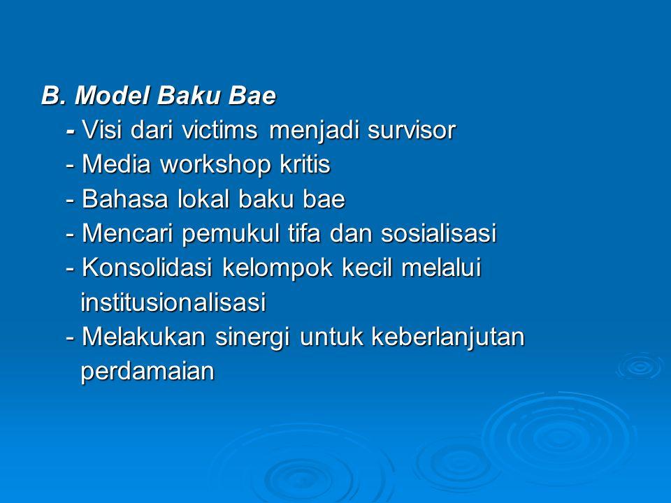 B. Model Baku Bae - Visi dari victims menjadi survisor - Media workshop kritis - Bahasa lokal baku bae - Mencari pemukul tifa dan sosialisasi - Konsol