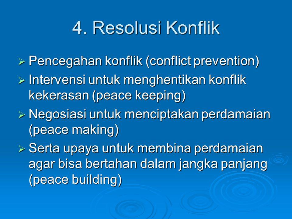 4. Resolusi Konflik  Pencegahan konflik (conflict prevention)  Intervensi untuk menghentikan konflik kekerasan (peace keeping)  Negosiasi untuk men