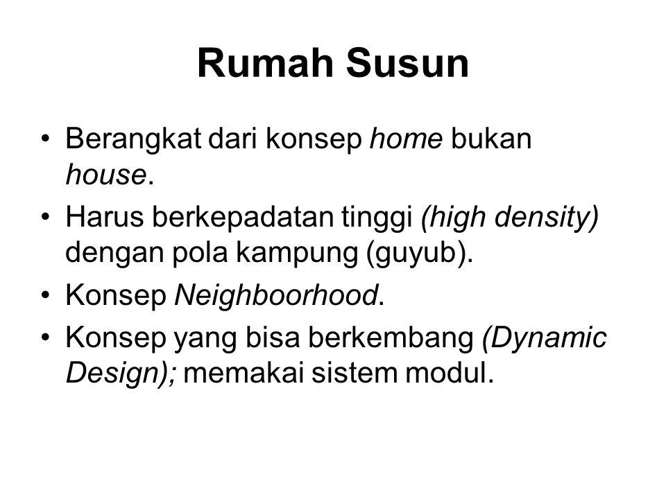 Rumah Susun •Berangkat dari konsep home bukan house. •Harus berkepadatan tinggi (high density) dengan pola kampung (guyub). •Konsep Neighboorhood. •Ko