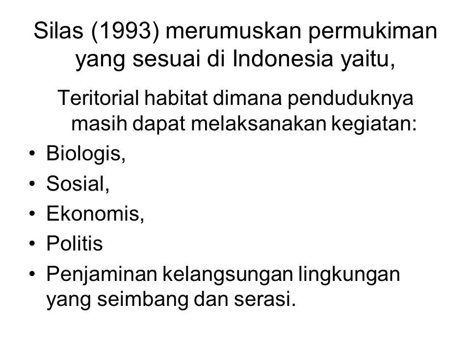 Silas (1993) merumuskan permukiman yang sesuai di Indonesia yaitu, Teritorial habitat dimana penduduknya masih dapat melaksanakan kegiatan: •Biologis, •Sosial, •Ekonomis, •Politis •Penjaminan kelangsungan lingkungan yang seimbang dan serasi.