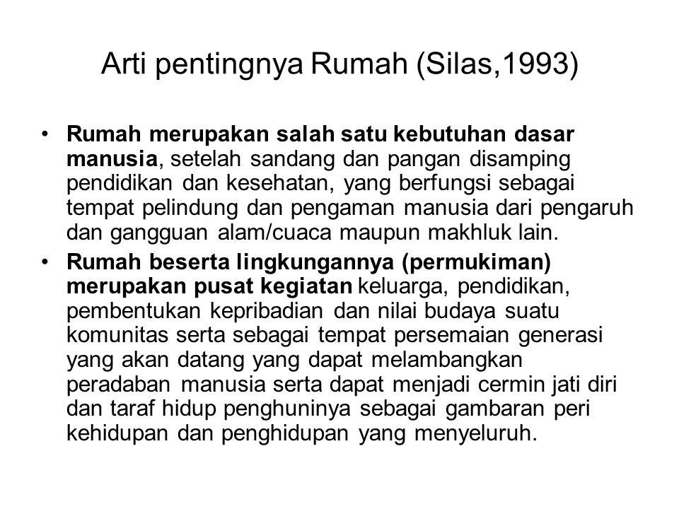 Arti pentingnya Rumah (Silas,1993) •Rumah merupakan salah satu kebutuhan dasar manusia, setelah sandang dan pangan disamping pendidikan dan kesehatan,