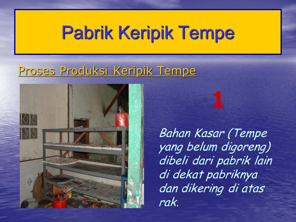 Pabrik Keripik Tempe Proses Produksi Keripik Tempe 1 Bahan Kasar (Tempe yang belum digoreng) dibeli dari pabrik lain di dekat pabriknya dan dikering d
