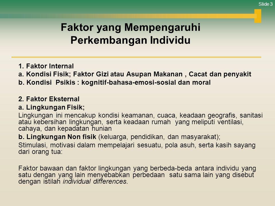 Slide 3 Faktor yang Mempengaruhi Perkembangan Individu 1. Faktor Internal a. Kondisi Fisik; Faktor Gizi atau Asupan Makanan, Cacat dan penyakit b. Kon