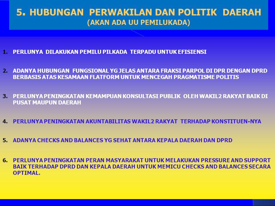 5. HUBUNGAN PERWAKILAN DAN POLITIK DAERAH (AKAN ADA UU PEMILUKADA) 1.PERLUNYA DILAKUKAN PEMILU PILKADA TERPADU UNTUK EFISIENSI 2.ADANYA HUBUNGAN FUNGS