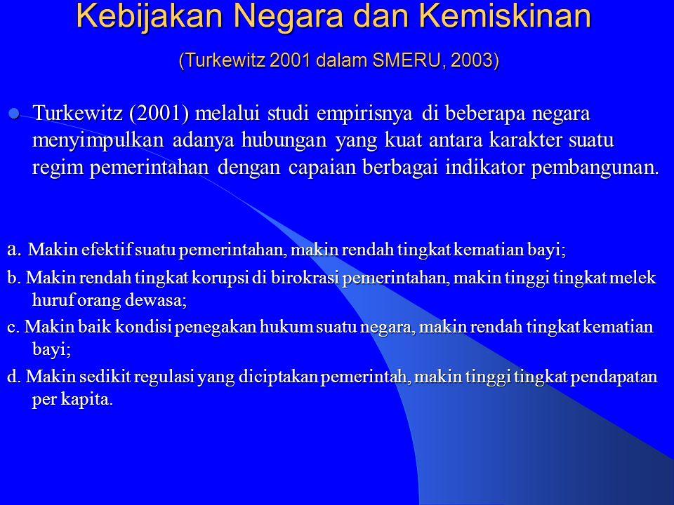 Kebijakan Negara dan Kemiskinan (Turkewitz 2001 dalam SMERU, 2003)  Turkewitz (2001) melalui studi empirisnya di beberapa negara menyimpulkan adanya hubungan yang kuat antara karakter suatu regim pemerintahan dengan capaian berbagai indikator pembangunan.