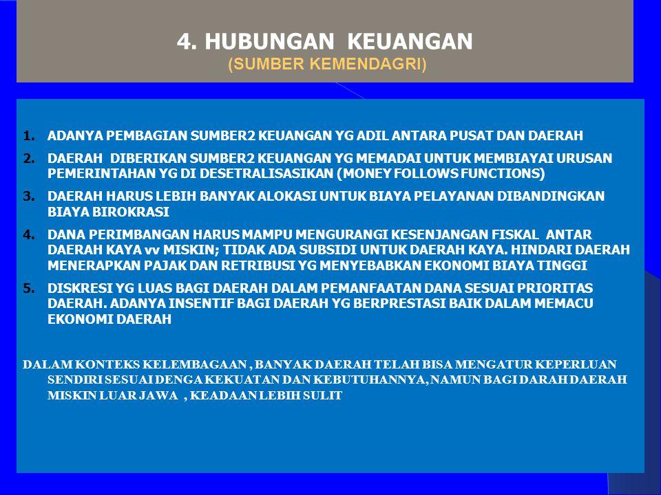 4. HUBUNGAN KEUANGAN (SUMBER KEMENDAGRI) 1.ADANYA PEMBAGIAN SUMBER2 KEUANGAN YG ADIL ANTARA PUSAT DAN DAERAH 2.DAERAH DIBERIKAN SUMBER2 KEUANGAN YG ME