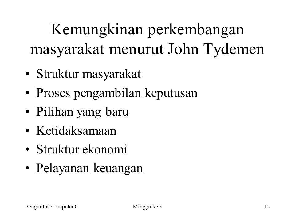 Pengantar Komputer CMinggu ke 512 Kemungkinan perkembangan masyarakat menurut John Tydemen •Struktur masyarakat •Proses pengambilan keputusan •Pilihan