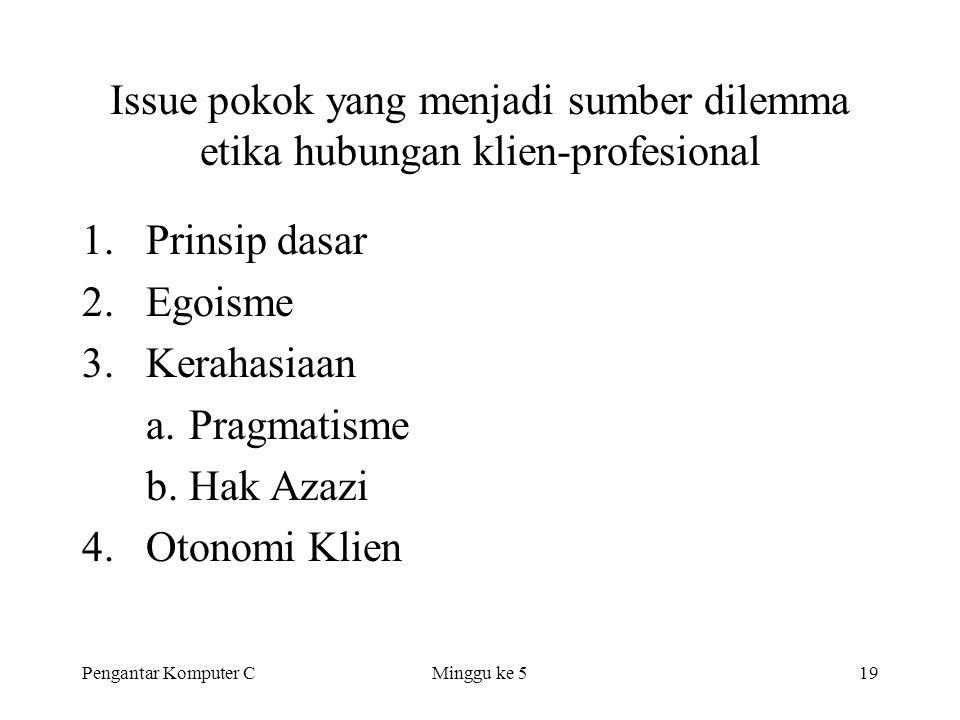 Pengantar Komputer CMinggu ke 519 Issue pokok yang menjadi sumber dilemma etika hubungan klien-profesional 1.Prinsip dasar 2.Egoisme 3.Kerahasiaan a.