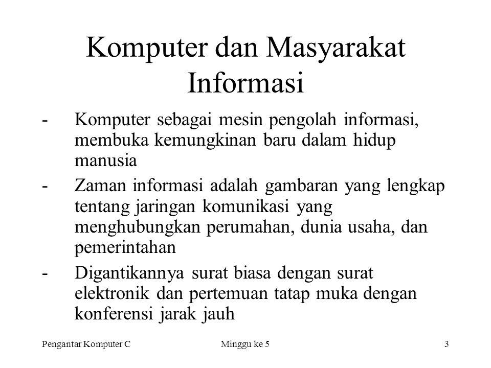 Pengantar Komputer CMinggu ke 53 Komputer dan Masyarakat Informasi -Komputer sebagai mesin pengolah informasi, membuka kemungkinan baru dalam hidup ma