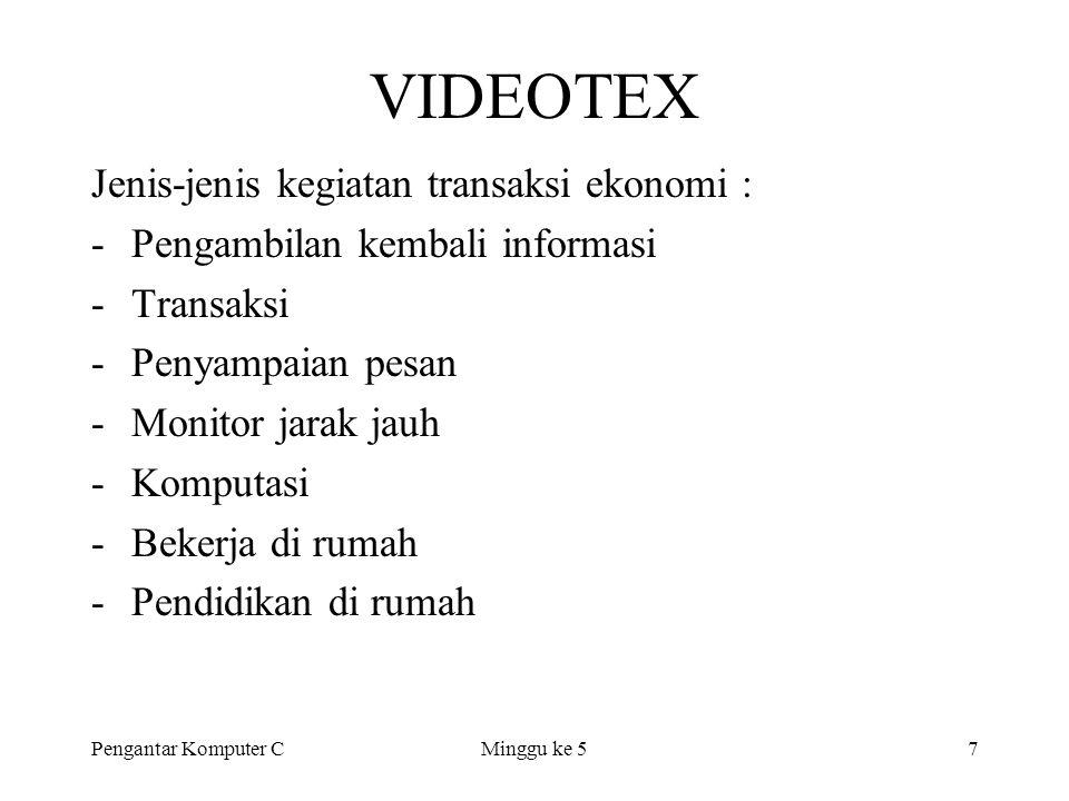 Pengantar Komputer CMinggu ke 57 VIDEOTEX Jenis-jenis kegiatan transaksi ekonomi : -Pengambilan kembali informasi -Transaksi -Penyampaian pesan -Monit
