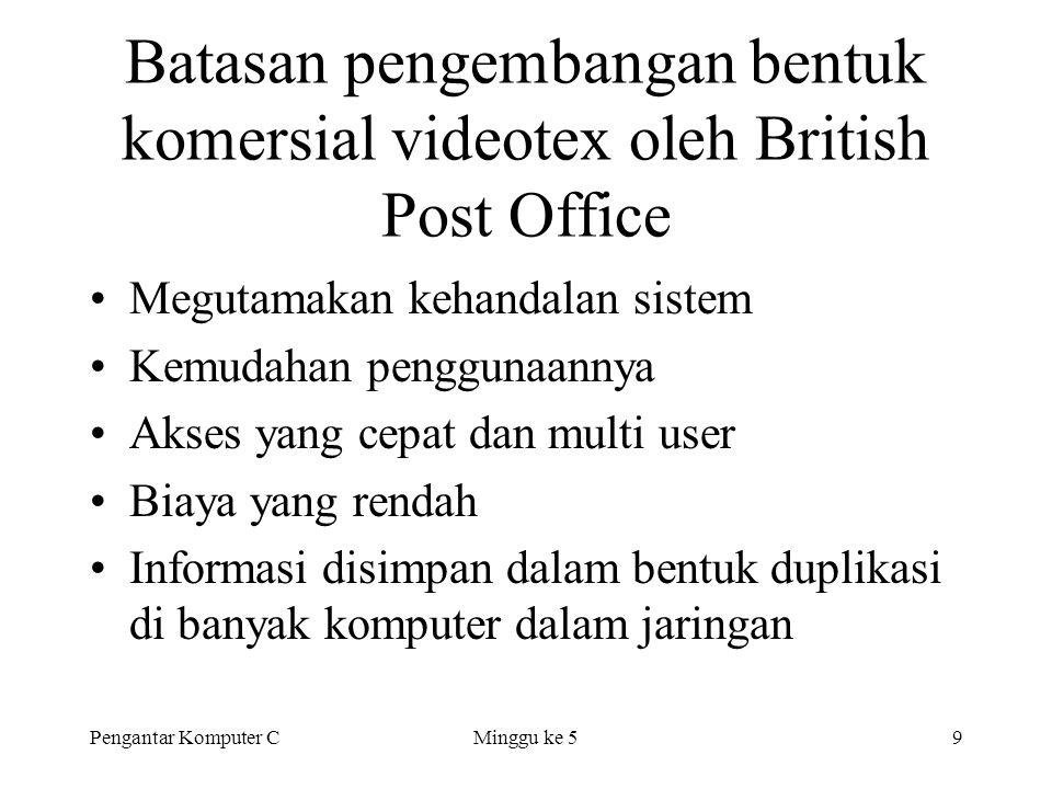 Pengantar Komputer CMinggu ke 59 Batasan pengembangan bentuk komersial videotex oleh British Post Office •Megutamakan kehandalan sistem •Kemudahan pen