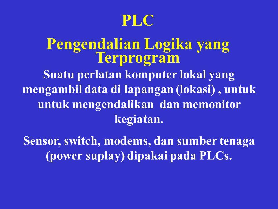 PLC Pengendalian Logika yang Terprogram Suatu perlatan komputer lokal yang mengambil data di lapangan (lokasi), untuk untuk mengendalikan dan memonito