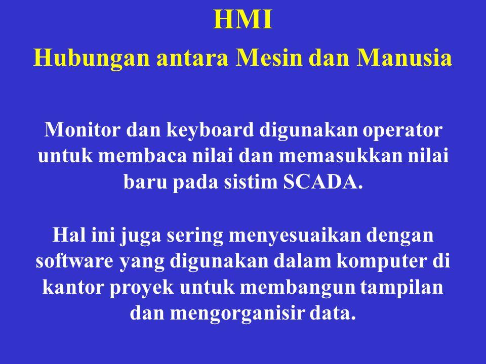 HMI Hubungan antara Mesin dan Manusia Monitor dan keyboard digunakan operator untuk membaca nilai dan memasukkan nilai baru pada sistim SCADA. Hal ini