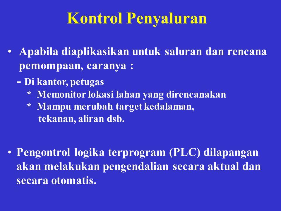 Kontrol Penyaluran •Apabila diaplikasikan untuk saluran dan rencana pemompaan, caranya : - Di kantor, petugas * Memonitor lokasi lahan yang direncanak