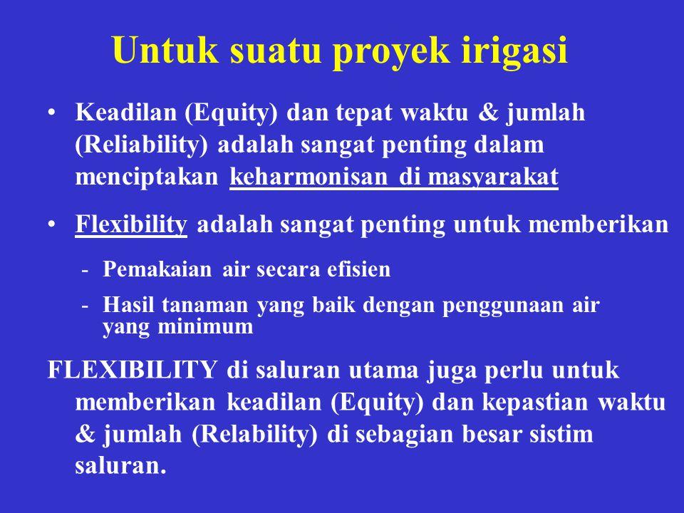 Untuk suatu proyek irigasi •Keadilan (Equity) dan tepat waktu & jumlah (Reliability) adalah sangat penting dalam menciptakan keharmonisan di masyaraka
