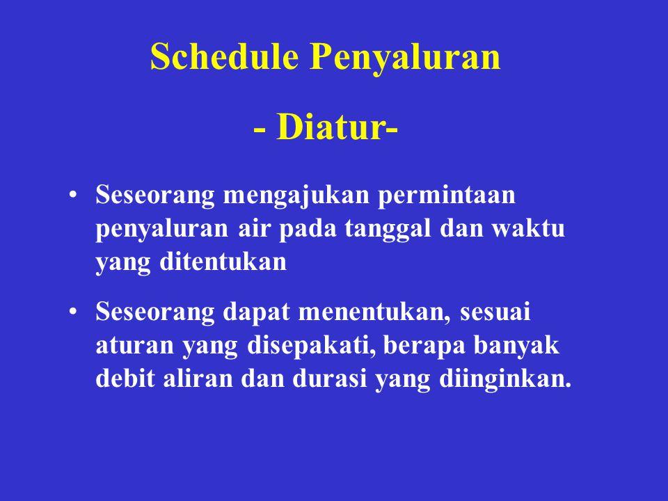 Schedule Penyaluran - Diatur- •Seseorang mengajukan permintaan penyaluran air pada tanggal dan waktu yang ditentukan •Seseorang dapat menentukan, sesu