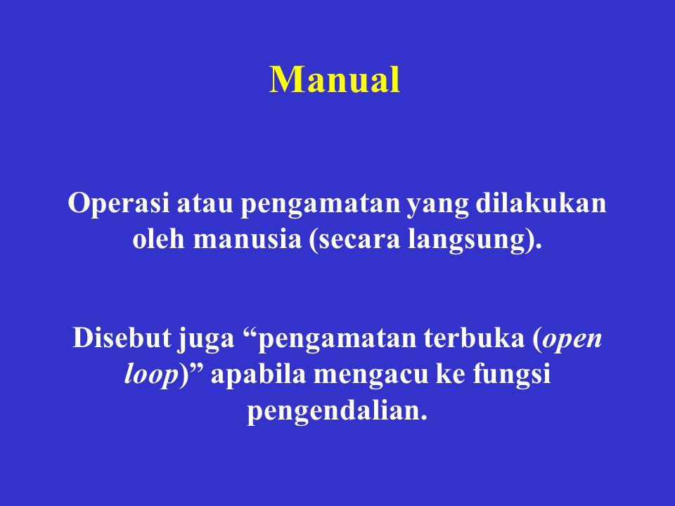 """Manual Operasi atau pengamatan yang dilakukan oleh manusia (secara langsung). Disebut juga """"pengamatan terbuka (open loop)"""" apabila mengacu ke fungsi"""