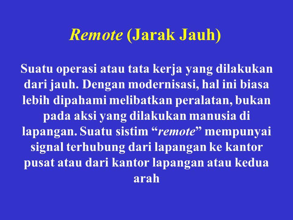 Remote (Jarak Jauh) Suatu operasi atau tata kerja yang dilakukan dari jauh. Dengan modernisasi, hal ini biasa lebih dipahami melibatkan peralatan, buk