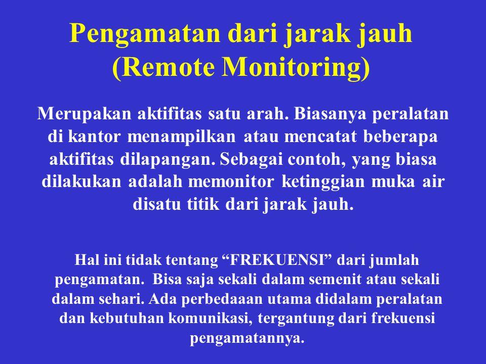 Pengamatan dari jarak jauh (Remote Monitoring) Merupakan aktifitas satu arah. Biasanya peralatan di kantor menampilkan atau mencatat beberapa aktifita