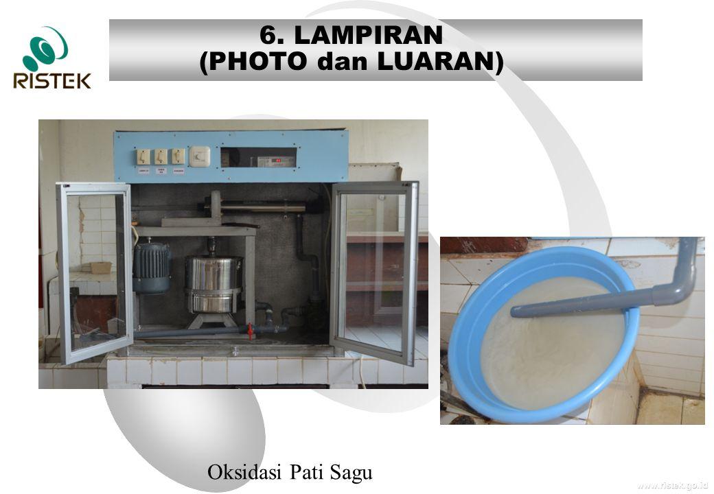 www.ristek.go.id 6. LAMPIRAN (PHOTO dan LUARAN) Oksidasi Pati Sagu