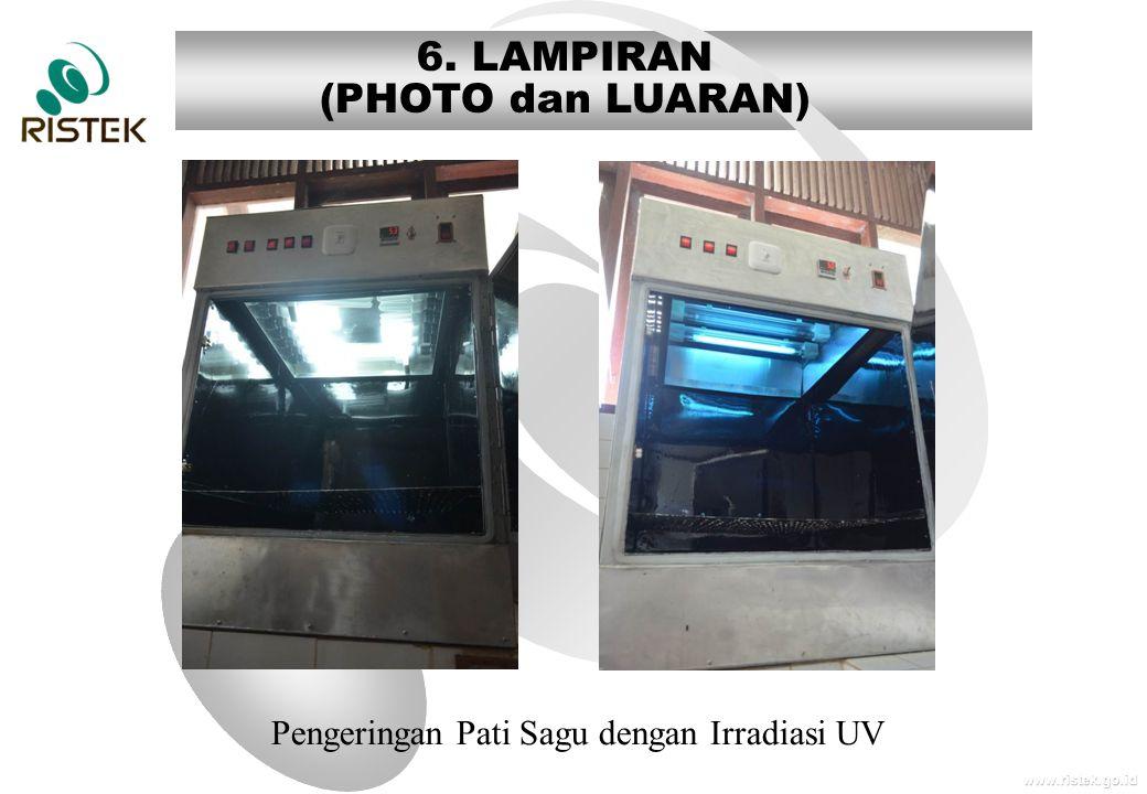 www.ristek.go.id 6. LAMPIRAN (PHOTO dan LUARAN) Pengeringan Pati Sagu dengan Irradiasi UV