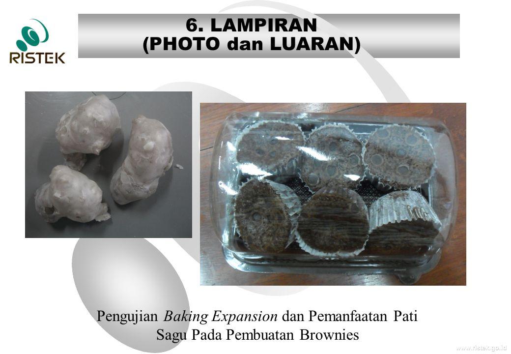 www.ristek.go.id 6. LAMPIRAN (PHOTO dan LUARAN) Pengujian Baking Expansion dan Pemanfaatan Pati Sagu Pada Pembuatan Brownies