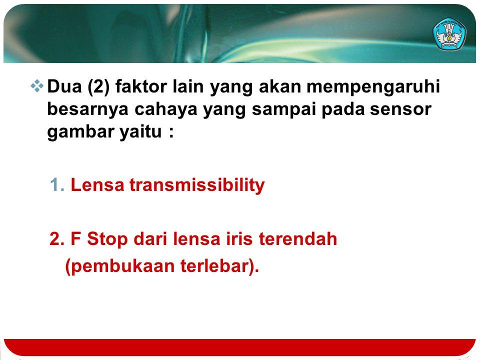  Dua (2) faktor lain yang akan mempengaruhi besarnya cahaya yang sampai pada sensor gambar yaitu : 1. Lensa transmissibility 2. F Stop dari lensa iri